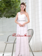 One Shoulder Empire Ruching Sequins White Dama Dresses BMT025DFOR
