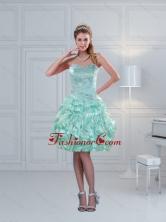 Perfect Ruffled Sweetheart Beaded Dama Dresses in Apple Green XFNAO5825TZBFOR