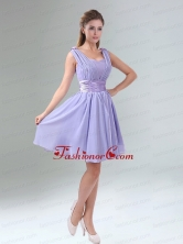Perfect Straps Lavender Ruched Mini Length Dama Dress with Waistband BMT005DFOR