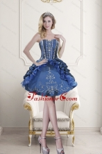 Popular Sweetheart Blue Embroidery and Beading Dama Dresses for 2015 XFNAOA62TZBFOR