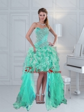 Pretty High Low Sweetheart Ruffled Beaded Dama Dress in Apple Green ZY791TZBFOR