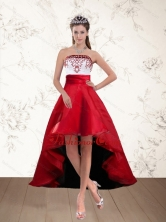 Pretty White And Wine Red High Low Strapless Dama Dresses with Embroidery PDZY535TZBFOR