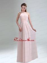Romantic 2015 High Neck Chiffon Light Pink Dama Dress BMT009BFOR