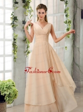Ruching V Neck Chiffon Dama Dresses in Champagne BMT024EFOR