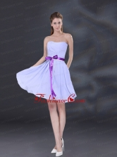 Ruching and Belt Chiffon Dama Dress in Lavender BMT026DFOR