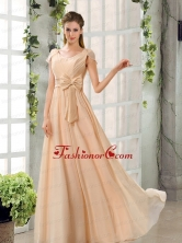 Scoop Ruching Cap Sleeves Chiffon Dama Dresses in Champagne BMT024DFOR