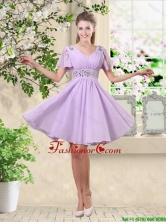 Simple A Line V Neck Beaded Dama Dresses in Lavender  BMT048AFOR