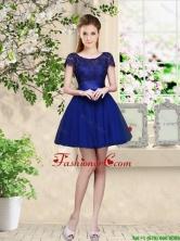 Sturning Bateau Short Royal Blue Dama Dresses with Cap Sleeves BMT034DFOR