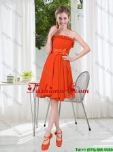 Summer A Line Strapless Bowknot Dama Dress in Rust Red BMT001D-8FOR