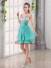 Sweetheart A Line Dama Dress with Sequins and Handle Made Flowers BMT002EFOR