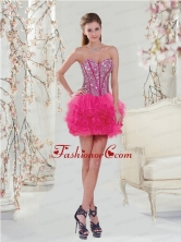 Trendy Beading and Ruffles Hot Pink Dama Dress for 2015 QDDT005AFOR