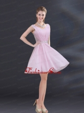V Neck Beading 2015 Dama Dress with Ruching BMT027EFOR