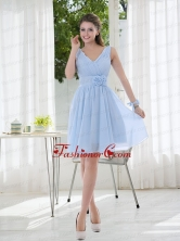 V Neck Chiffon Dama Dress with Ruching and Hand Made Flowers BMT012EFOR
