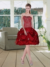 Wine Red Pretty Strapless 2015 Dama Dresses with Embroidery MLD090710TZBFOR