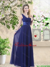 Wonderful Ruched Navy Blue Dama Dresses with V Neck BMT059DFOR