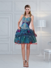 2015 Ball Gown Straps Multi Color Embroidery Prom Dresses with Hand Made Flower  QDZY321TZCFOR