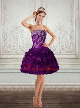 2015 Beautiful Purple Strapless Prom Dresses with Embroidery and Ruffles QDZY244TZCFOR
