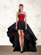 2015 Cheap High Low Strapless Beaded Prom Dresses in Red and Black QDZY597TZBFOR
