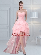 2015 Cute Baby Pink Sweetheart Beaded Prom Dresses with Ruffled Layers MLXN911415TZBFOR