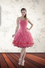 2015 New Style Strapless Prom Dresses with Beading and Ruffles XFNAO744TZCFOR