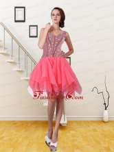 2015 New Style Watermelon Red A Line Straps Prom Dress with Sequins QDDTA8001FOR