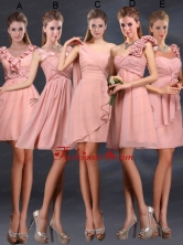 2015 Ruching Chiffon Prom Dresses in Peach BMT028FOR