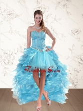 Baby Blue Sweetheart High Low Prom Dresses with Ruffles and Beading QDZY109TZBFOR