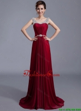 Cheap Brush Train Scoop Zipper Up Prom Dresses in Wine Red DBEE004FOR