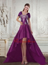 Dark Purple High Low Strapless Embroidery Prom Dresses for 2015 Spring QDZY258TZBFOR