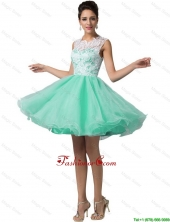 Elegant Laced Scoop A Line Prom Dresses in Apple Green DBEE091FOR