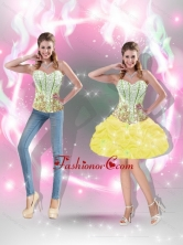 Flirting 2015 Prom Dresses with Beading in Yellow for Cocktail SJQDDT40004-4FOR