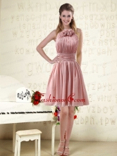 Halter Ruching and Handmade Flowers Empire Chiffon Prom Dresses BMT004DFOR