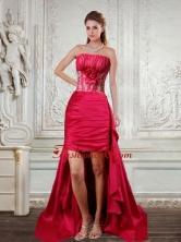 High Low Strapless Ruffled Coral Red Prom Dresses with Hand Made Flower QDZY466TZBFOR