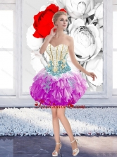 Inexpensive 2015 Mini Length Beaded Prom Dresses with Appliques SJQDDT39003-3FOR