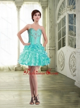 Inexpensive Organza Short Prom Dress with Beading and Ruffles SJQDDT62003FOR