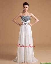 New Arrival Sweep Train Beading Prom Dresses in White  DBEE405FOR