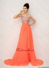 New Arrivals One Shoulder Prom Dresses with High Slit and Sequins DBEE066FOR