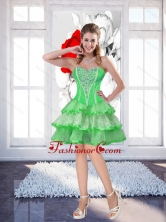 New Spring Green Sweetheart Prom Dresses with Beading for Cocktail SJQDDT50003FOR