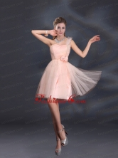 One Shoulder A Line Tulle Prom Dresses with Hand Made Flowers BMT022BFOR