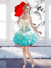 Perfect Ball Gown Mini Length Prom Dresses with Beading and Appliques  SJQDDT39003FOR