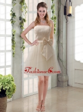 Popular Champagne Strapless Princess Bowknot Prom Dresses for 2015 BMT003AFOR