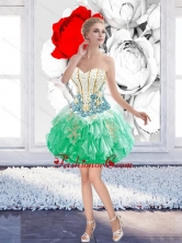 Pretty Ball Gown Beaded Mini Length Prom Dresses with Appliques SJQDDT39003-1FOR