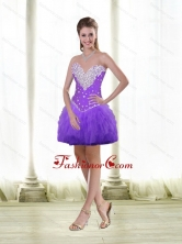 Short Beaded and Ruffles Prom Dresses in Purple for Cocktail SJQDDT84003FOR