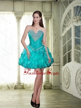 Wonderful 2015 Beaded and Ruffles Prom Dresses in Teal SJQDDT87003FOR
