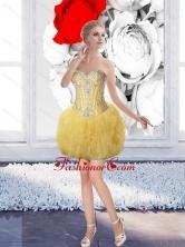 Wonderful Short Sweetheart Beaded Prom Dresses in Gold for 2015  SJQDDT65003FOR