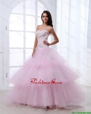 Wonderful Sweetheart Baby Pink Prom Dresses with Sequins and Ruffled Layers DBEE424FOR