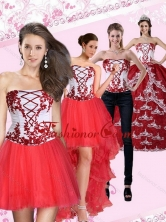Multi Color Strapless Quinceanera Dress with Embroidery for 2015 QDZY386TZA2FOR