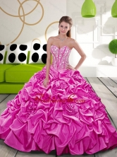2015 Affordable Fuchsia Dress for Quince with Beading and Pick Ups QDDTA21002FOR