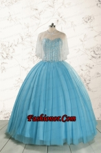 2015 Ball Gown Baby Blue Beading Quinceanera Dress with Wraps FNAO5899AFOR
