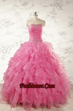 2015 Ball Gown Organza Quinceanera Dresses with Beading and Ruffles FNAO724FOR